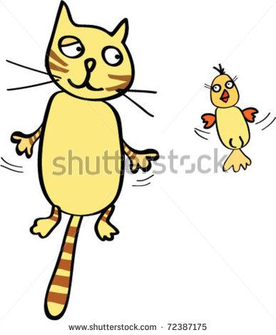 Cartoon Cat and Bird