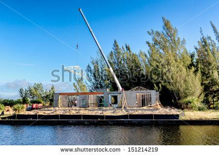 Crane Lifting Roof Truss