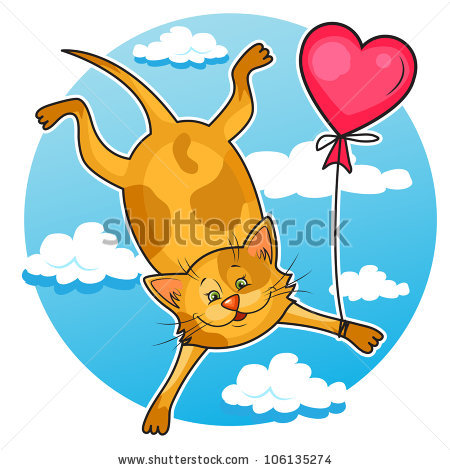 Flying Cat with Balloon Cartoon Images