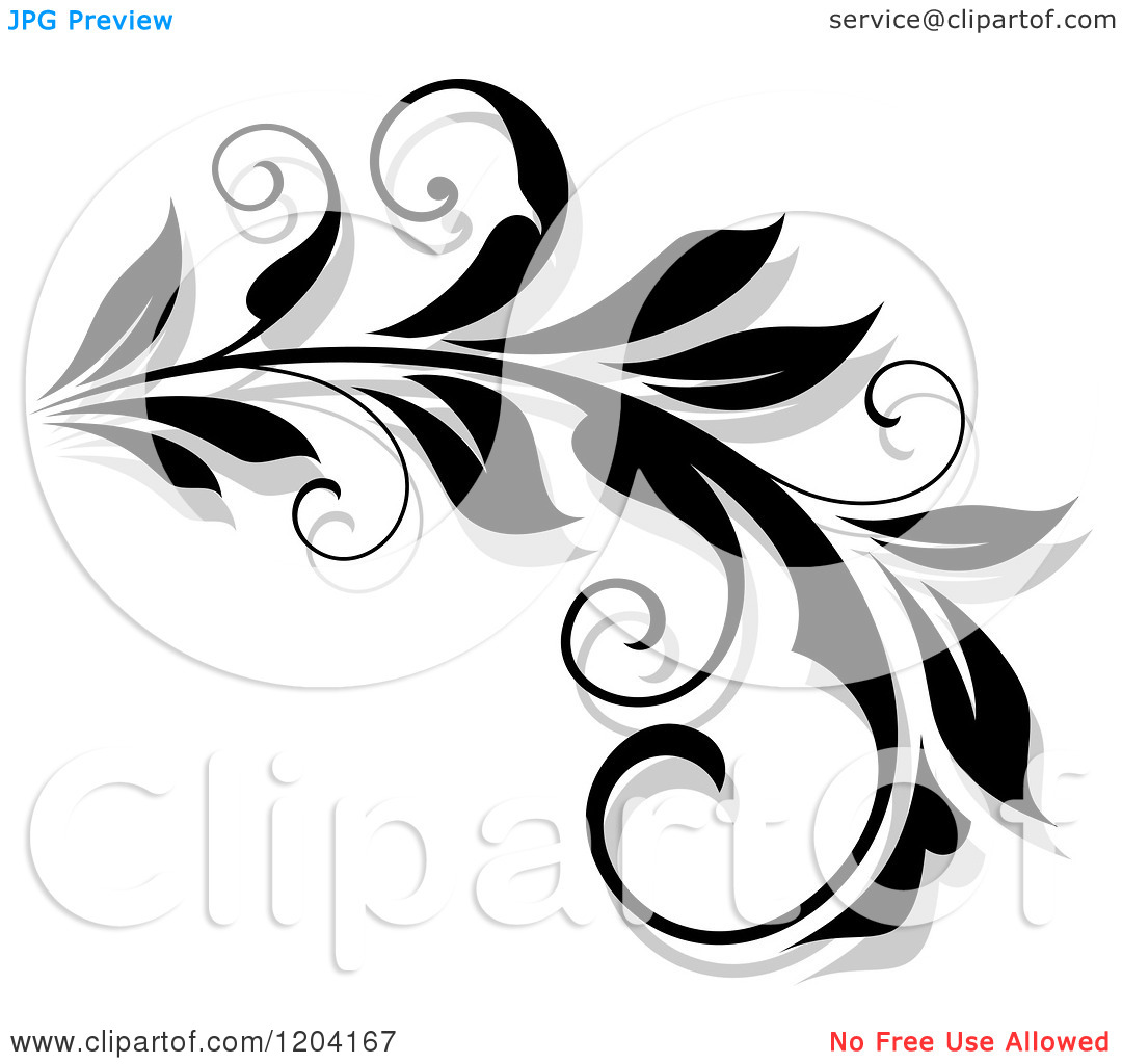Free Flourish Clip Art Black and White