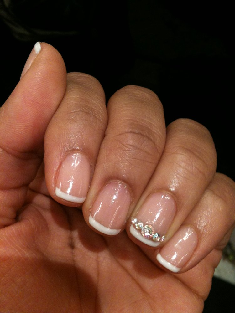 15 French Manicure Designs With Rhinestones Images - Pedicure Toe ...