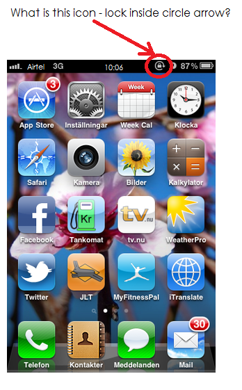 iPhone Symbols Lock with Circle Arrow