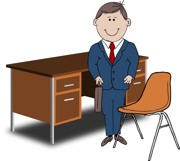 Manager at Desk Clip Art