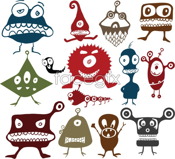 14 Vector Cartoon Monsters Images