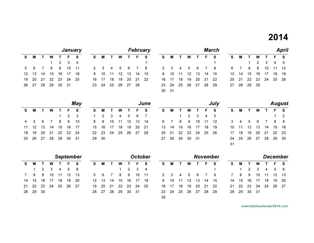 Printable 2014 Yearly Calendar Templates