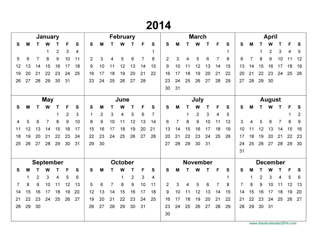 Printable 2014 Yearly Calendar