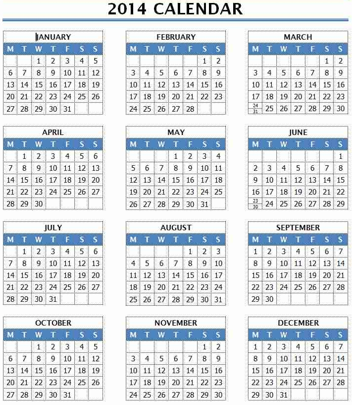 Printable 2016 Yearly Calendar Template