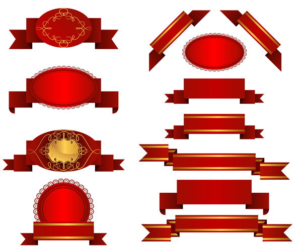 13 Red Ribbon Vector Images