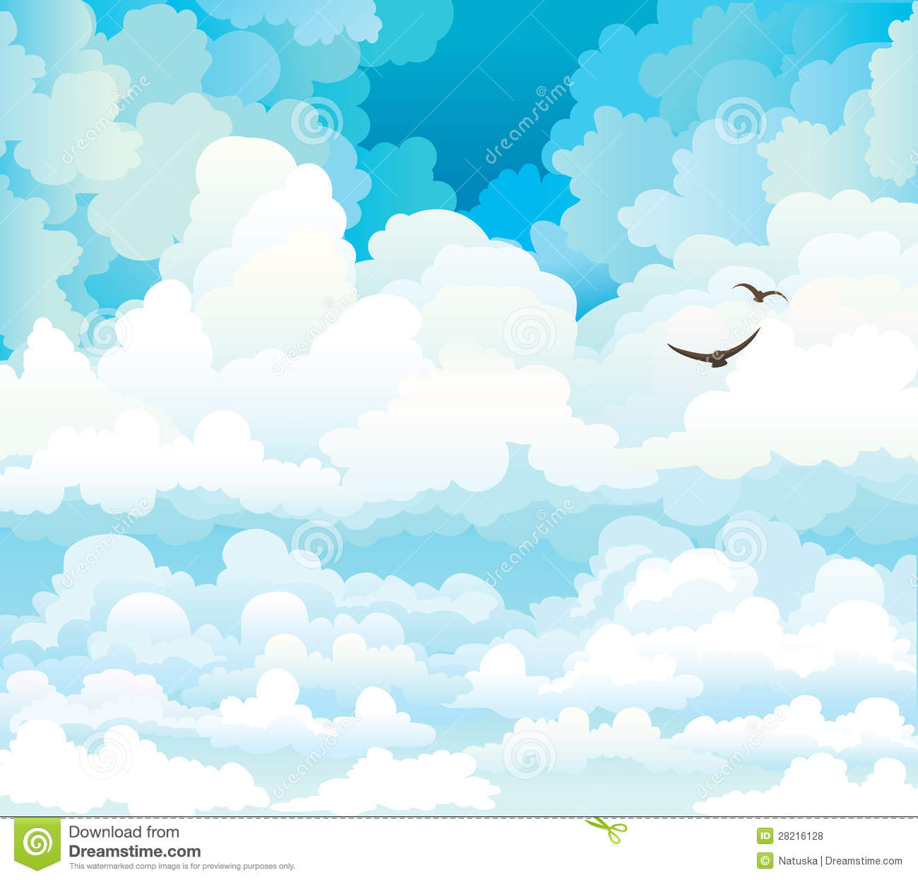 Sky with Clouds and Birds
