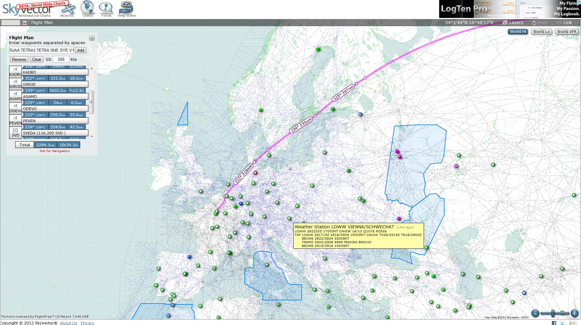 SkyVector Sectional Charts Flight Planning