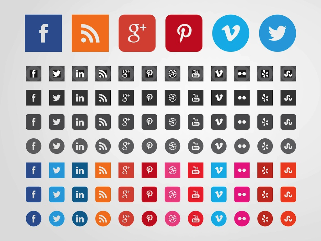 14 Social Media Web Buttons Vector Images