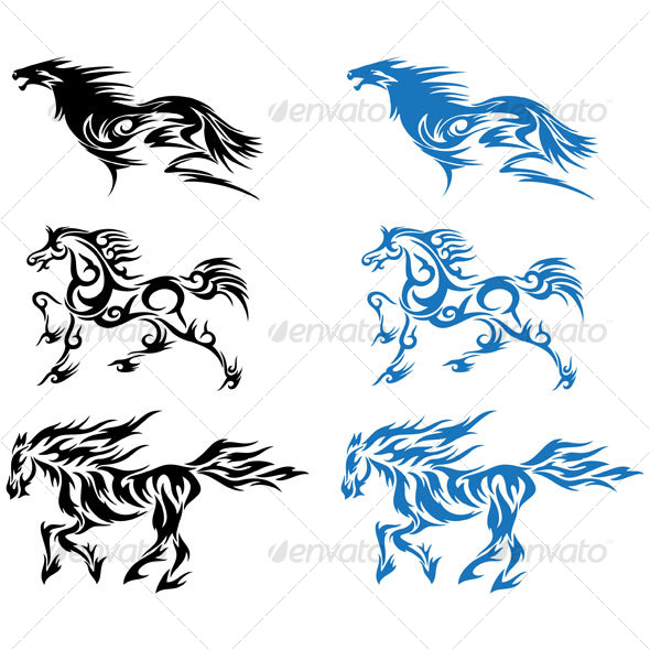 Tribal Horse Tattoo Designs