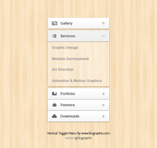 8 Accordion Menu PSD Images