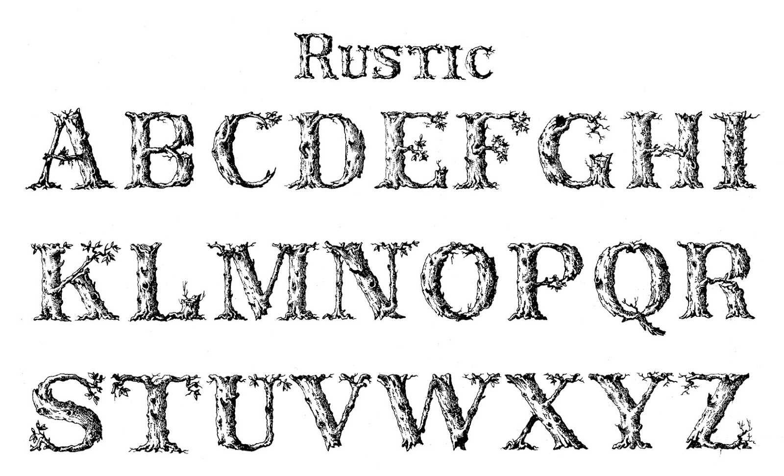 20 Rustic Alphabet Fonts Images