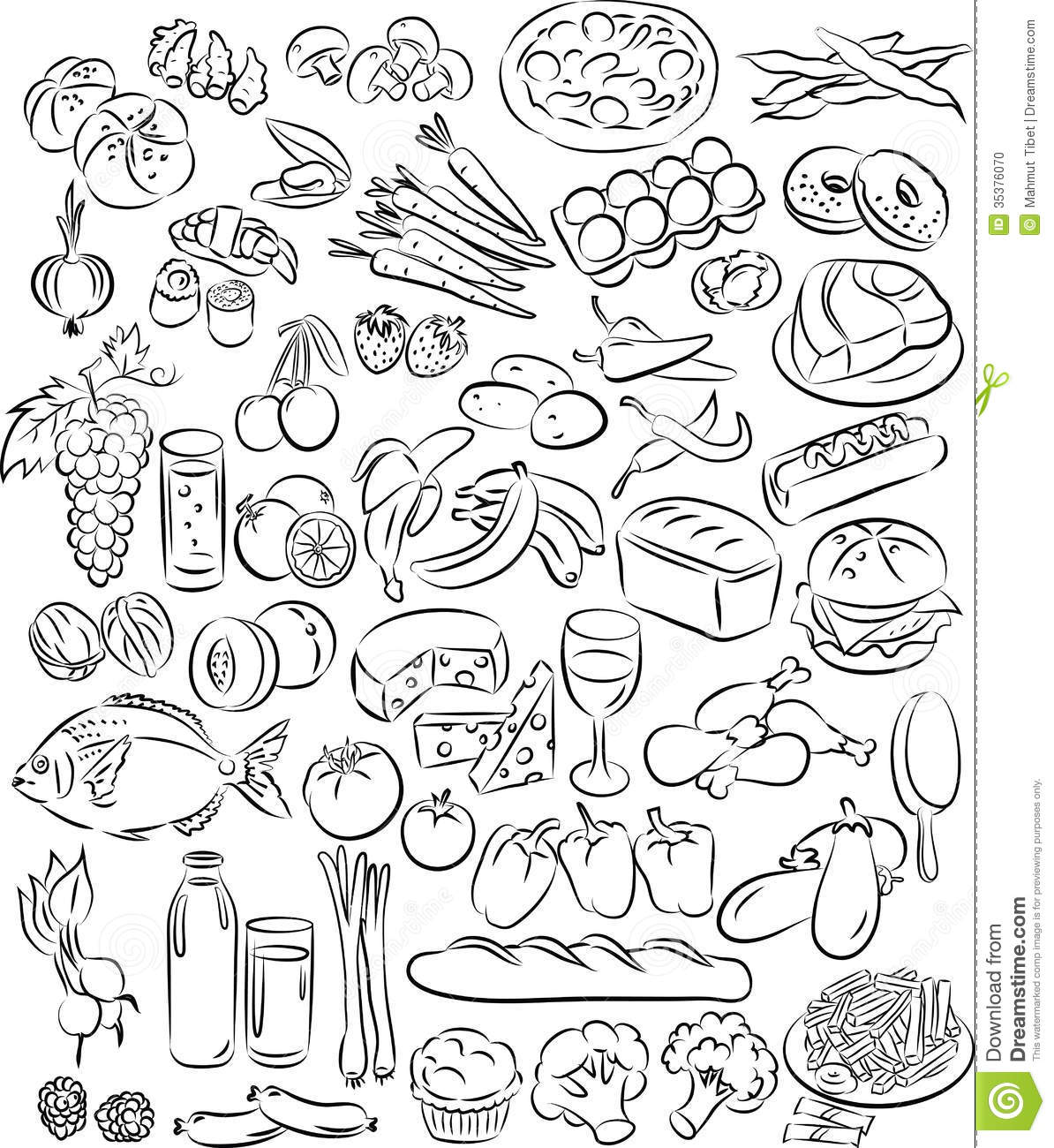 Black and White Food Vector