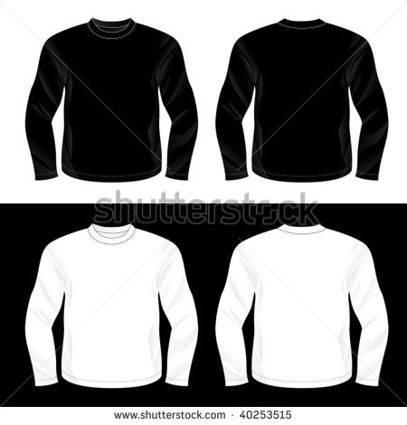 Black Long Sleeve T-Shirt Template Front and Back