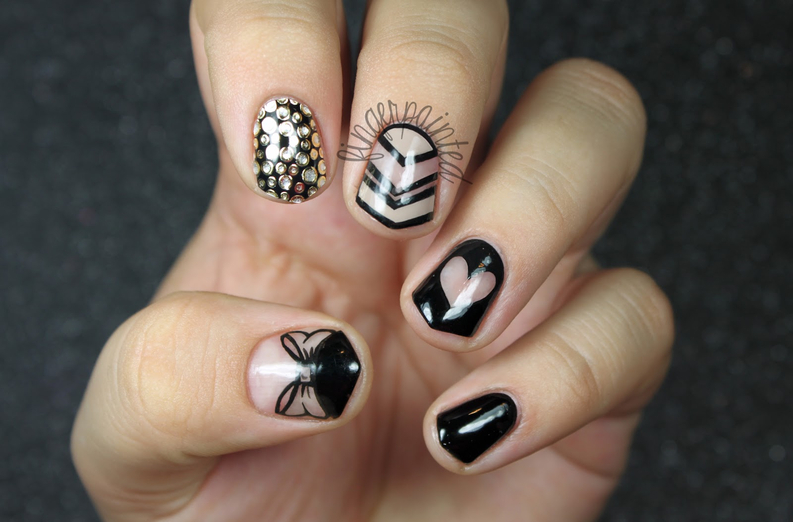 Black Nails with Design