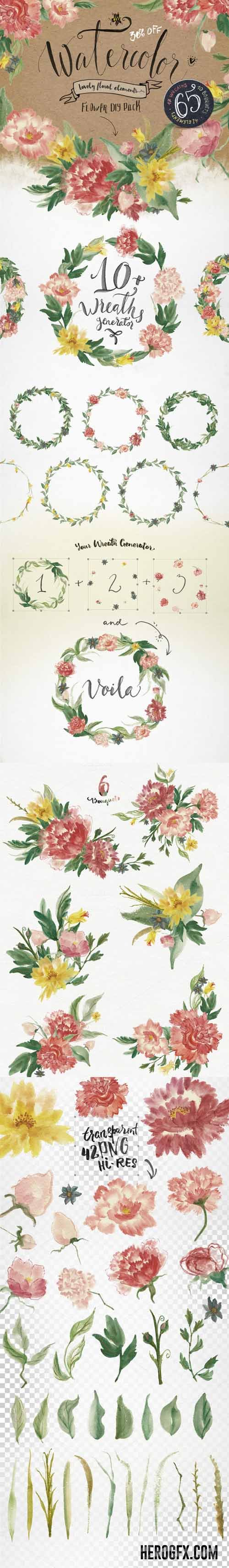DIY Watercolor Flower Pack