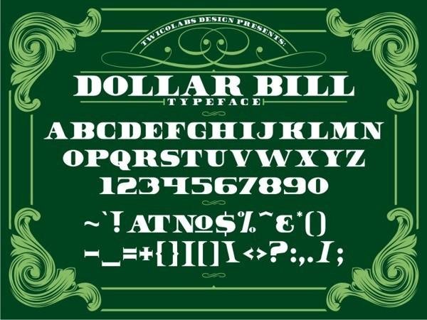 7 Dollar Bill Font Images