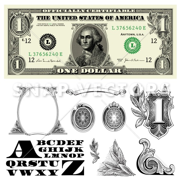 7 Dollar Bills Vector Icon Images