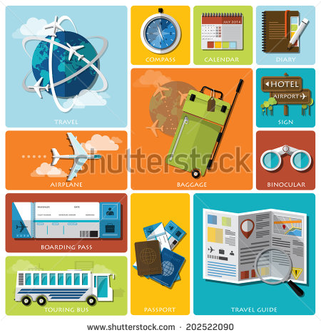 8 Travel Flat Icon PSD Images