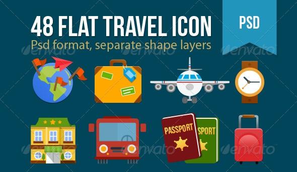 Flat Travel Icons