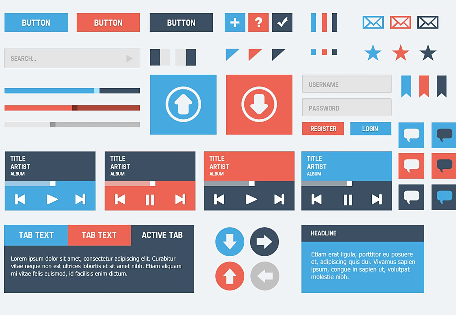 6 Flat Design Buttons PSD Images