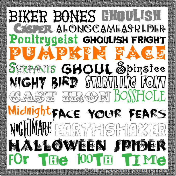 12 Halloween Font Word Images