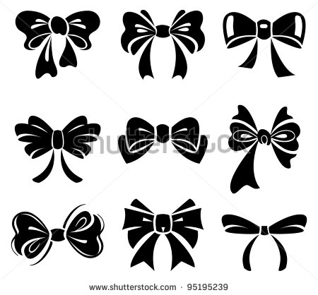 12 Black And White Bow Vector Images