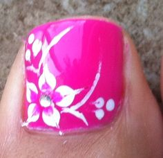 11 Hawaiian Flower Toe Nail Design Images