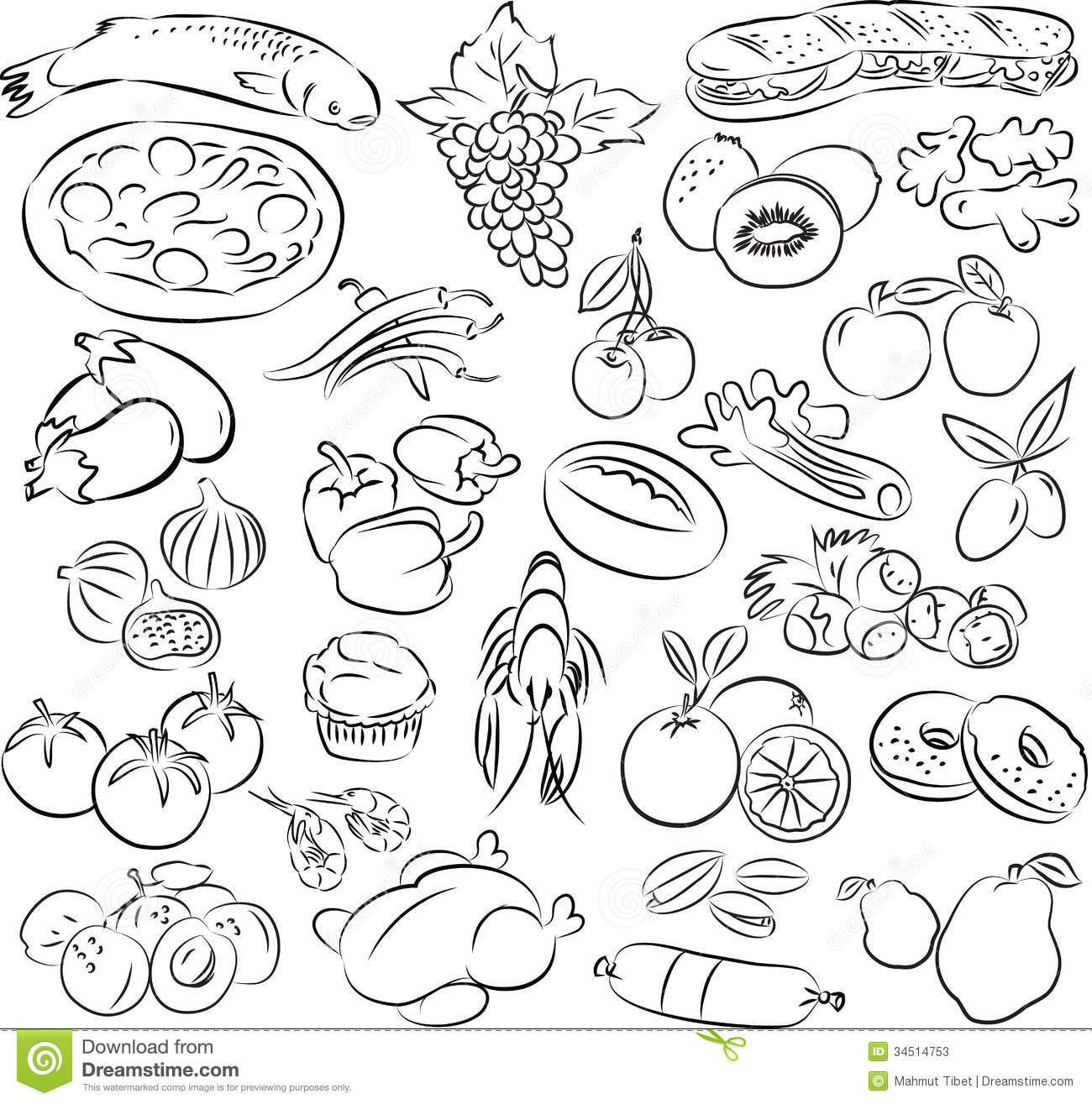 Healthy Food Clip Art Black and White