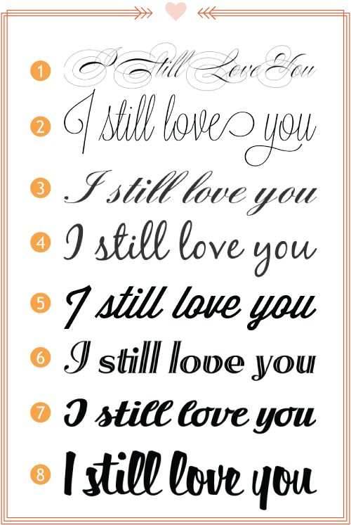 12 Love In Script Font Images