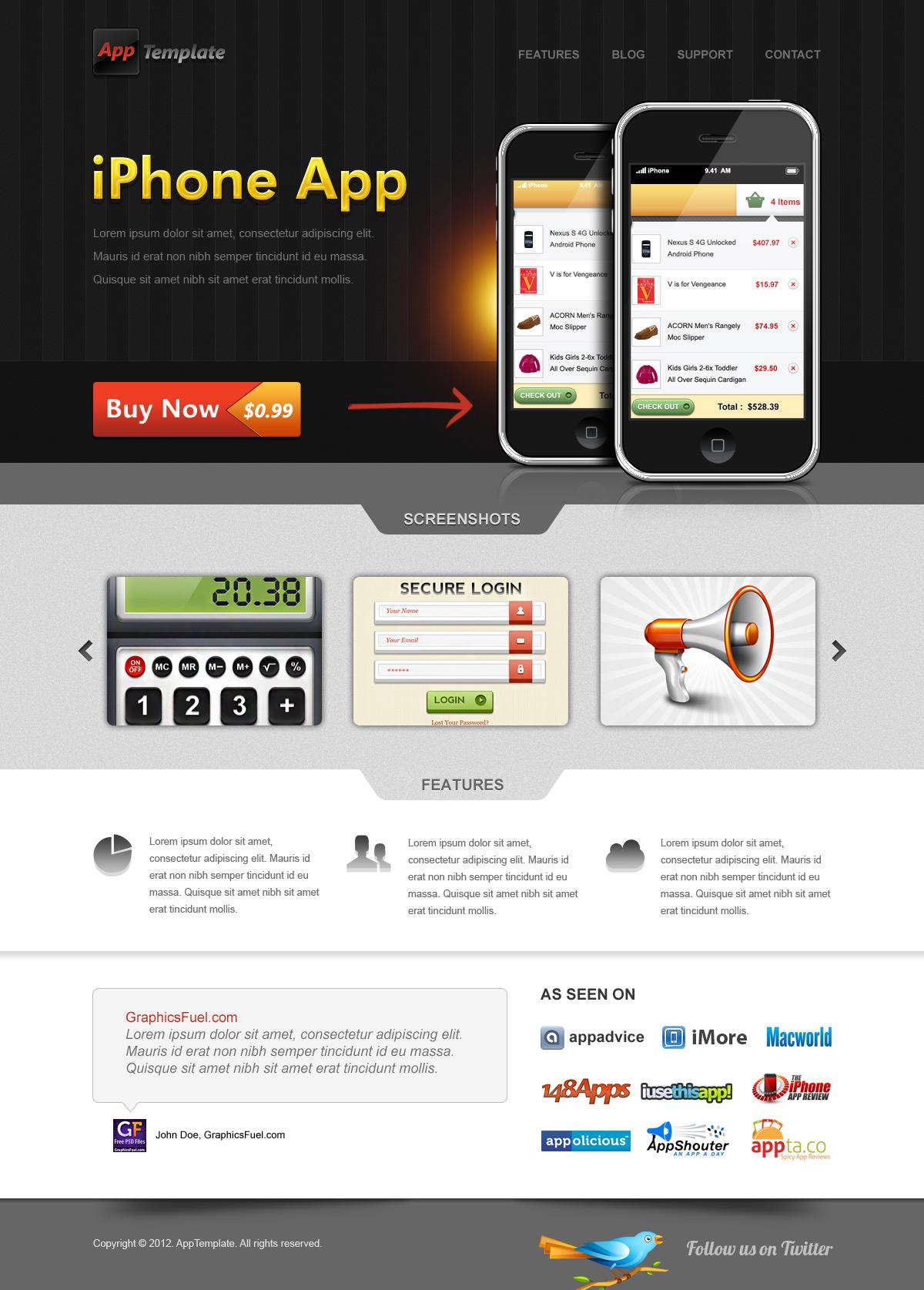 iPhone Web Design Template