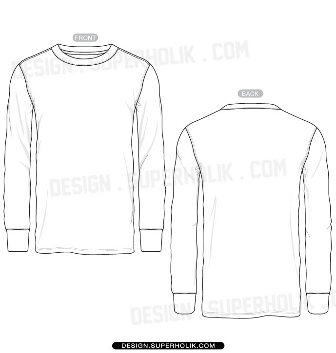 Long Sleeve Shirt Template Vector