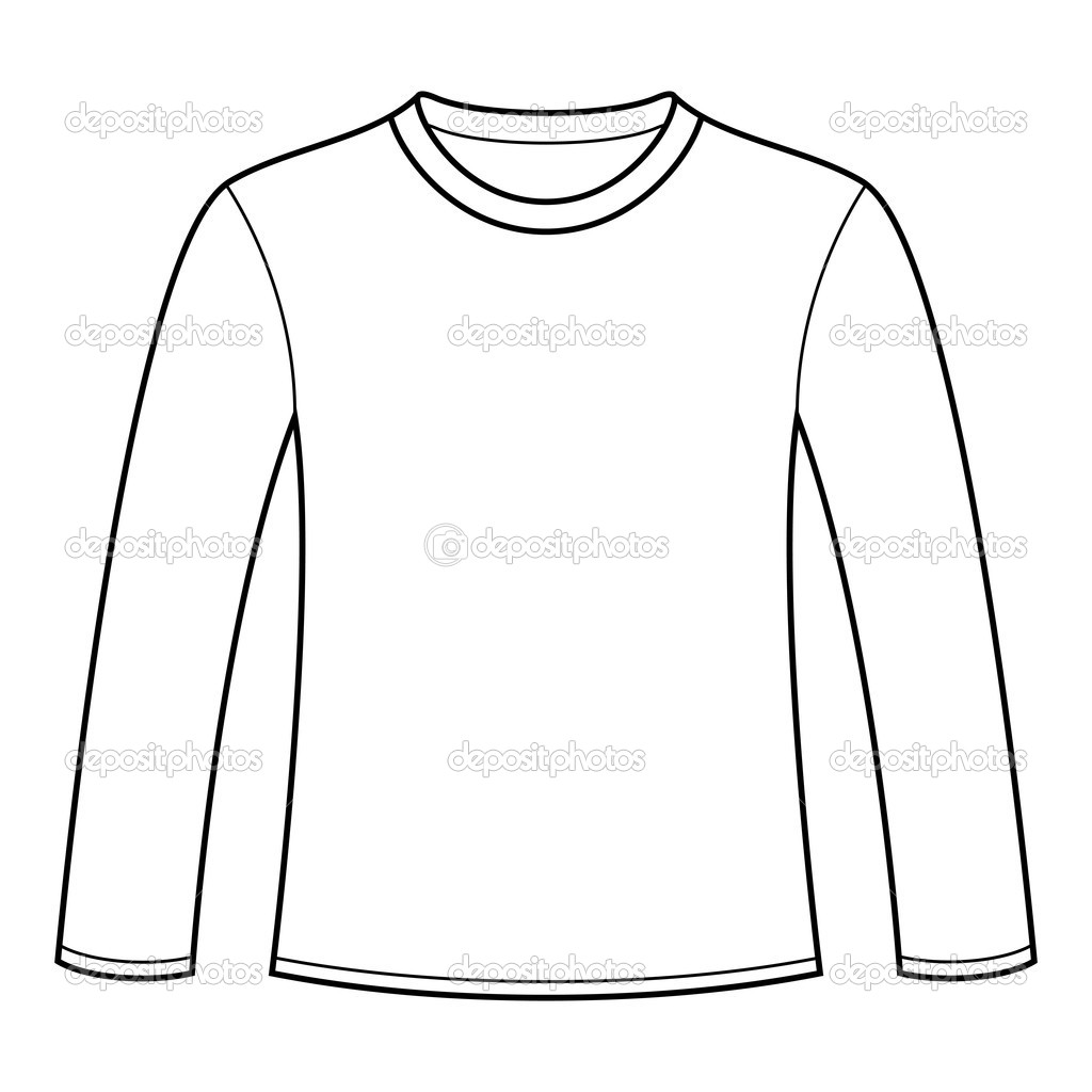 create a t shirt template - 17 long sleeve tee shirt design template vector images