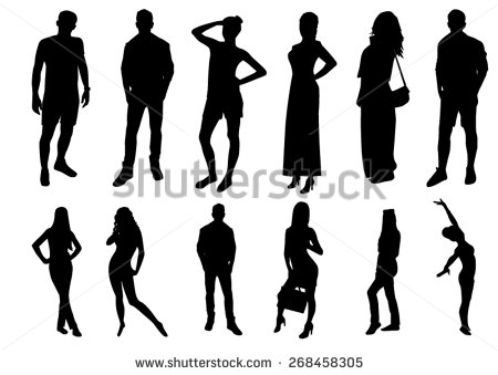 Male and Female Body Silhouette Vector