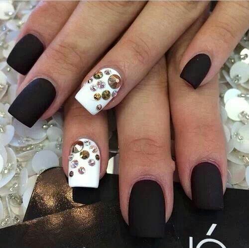Matte Black and White Nail Designs