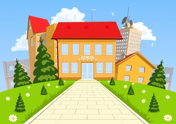 Modern School Building Cartoon