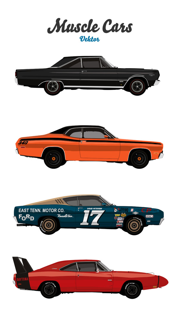 10 Muscle Car Vector Art Collection Images