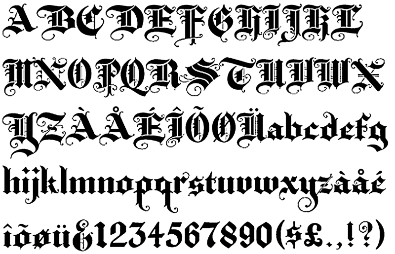 Old English Tattoo Letters Designs