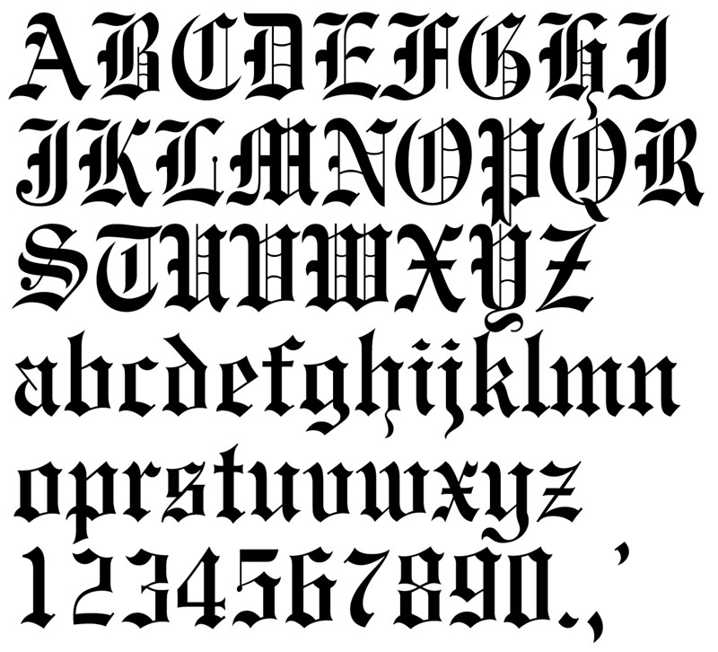 Old English Tattoo Letters Font
