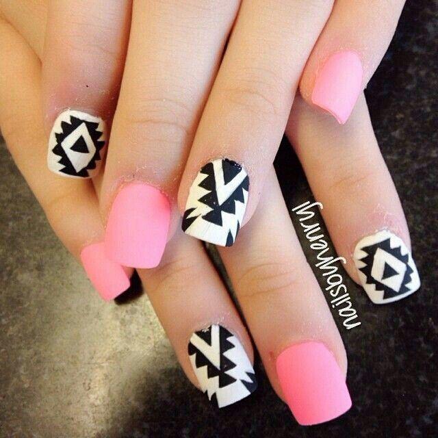 Pink Tribal Print Nails