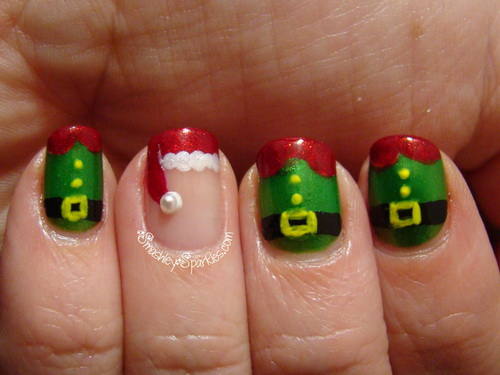 12 Easy Christmas Nail Designs For Short Nails Images , Easy