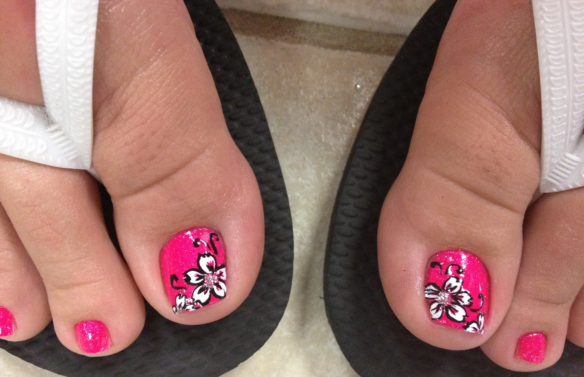 Toe Nail Designs with Pink Flower