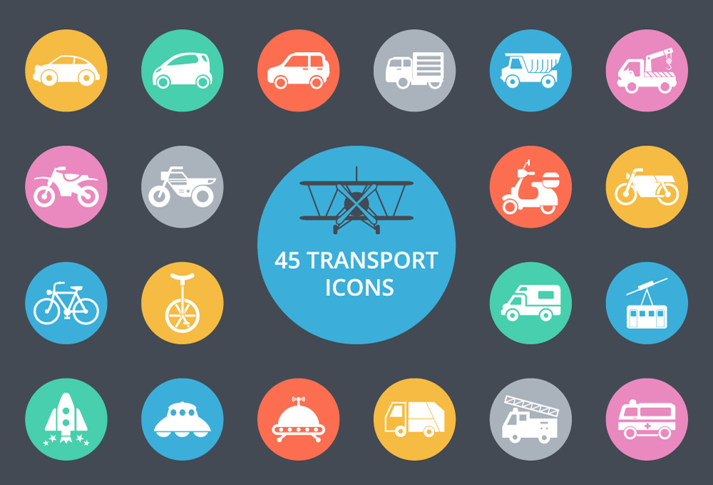 9 Transportation Icon Interface Images