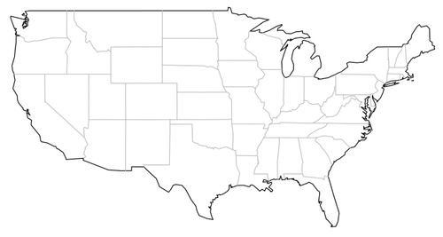 Usa Map Black And White Trendy Isolated Political Usa Map Of United