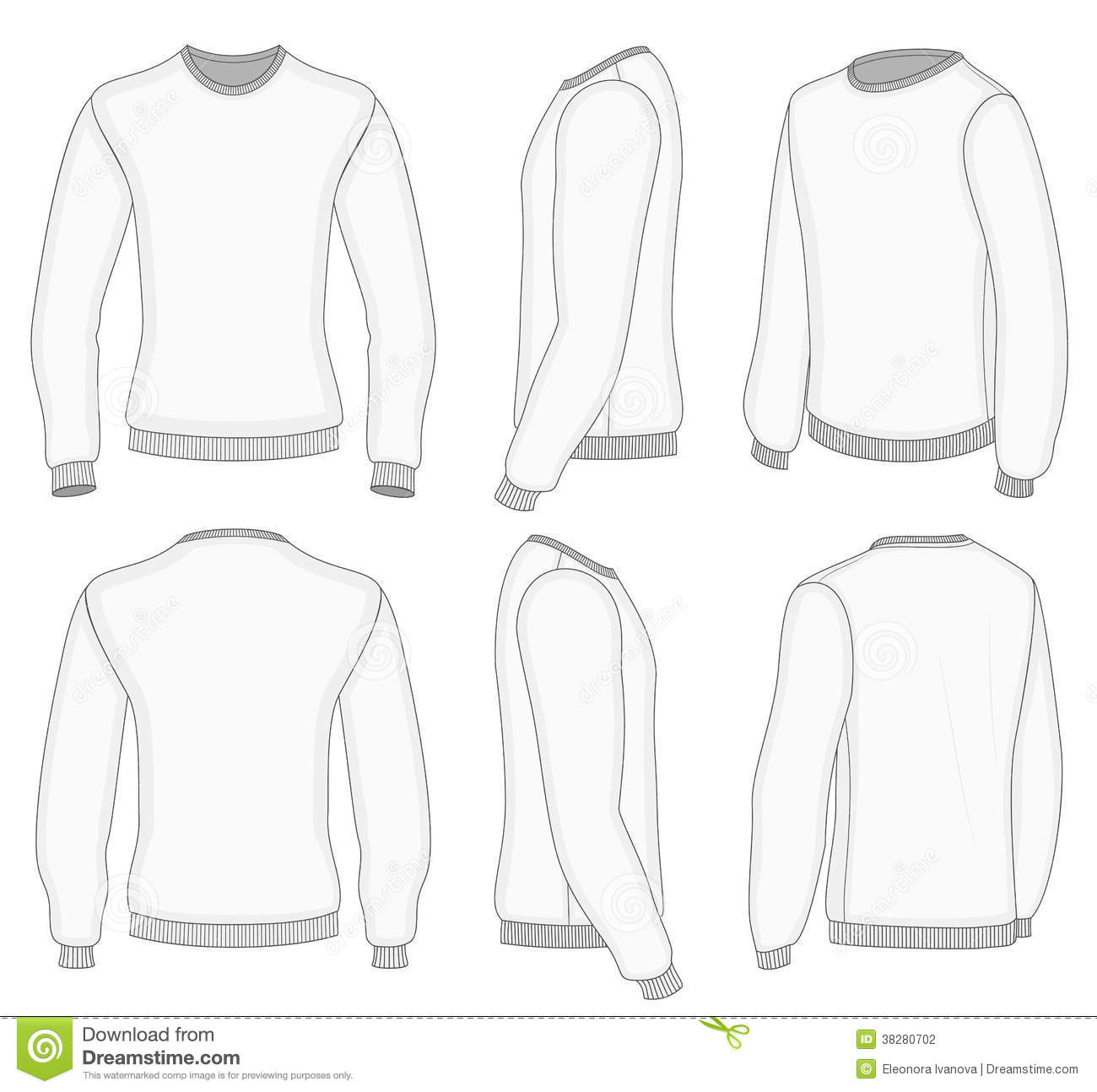 White Long Sleeve Shirt Template