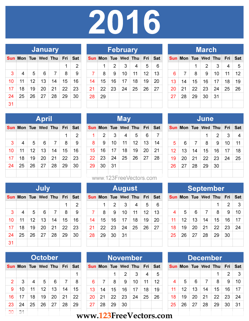 14 Monthly Calendar 2016 Vector Images