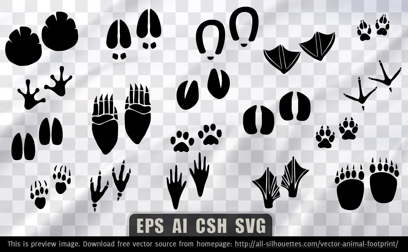 Animal Foot Prints Silhouettes Vector