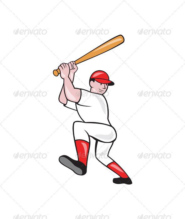 Cartoon Baseball Player Batting